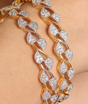 American Diamond Leaf Design Bangles