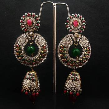 Victorian Golden Finish Danglers Red Green