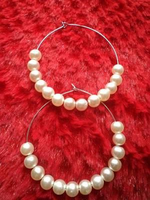 White Hoop Earrings-020192