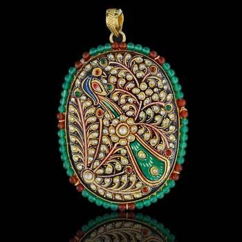 Leaf Art Tanjore Pendant