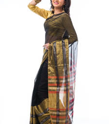 Buy Black hand_woven silk saree with blouse silk-saree online