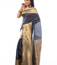 Buy Grey hand_woven silk saree with blouse pongal-dhoti-saree online