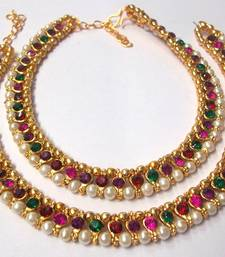 Buy Rainbow color stone pearl Golden Anklet hot-deal online