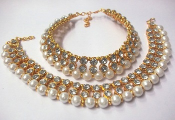 Golden Big Stone Pearl Anklet