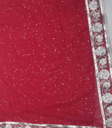 red and beige woven net saree with blouse