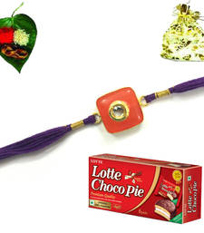 Buy Jewel Kundan 2015 Rakhi  with Chocolate rakhi-with-chocolate online