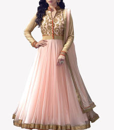 Buy Pink embroidered georgette semi stitched salwar with dupatta semi-stitched-salwar-suit online