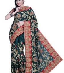 Buy Dark Green embroidered silk saree with blouse heavy-work-saree online