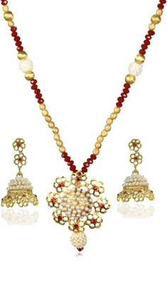 Kshitij Jewels Pearl Studded Floral Necklace Set - Blue