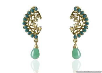 Kshitij Jewels Red Drops Golden Earring