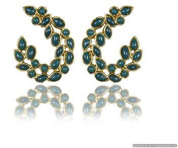 Kshitij Jewels Green Wine Twig Earrings