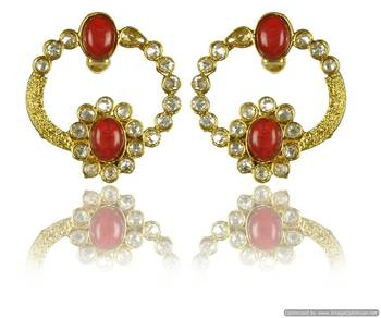 Kshitij Jewels Red Stone Interconnected Golden Earrings