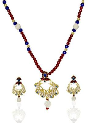 Kshitij Elite Cream & Green Bead Necklace Set