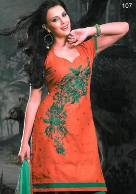 Embroidered Cotton Salwar Material - Embroidery - Riyaa