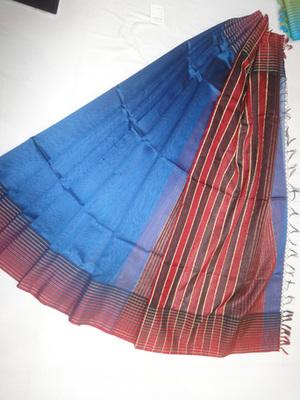 royal blue woven maheshwari saree with blouse