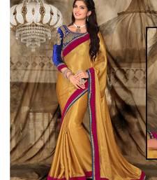 Buy Beige embroidered art_silk saree with blouse heavy-work-saree online