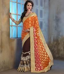 Buy Orange embroidered art_silk saree with blouse heavy-work-saree online
