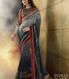 Buy Grey embroidered art_silk saree with blouse heavy-work-saree online