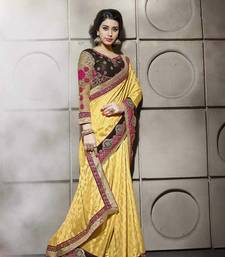 Buy Yellow embroidered art_silk saree with blouse heavy-work-saree online