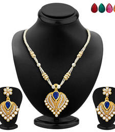 Buy Lavish Gold Plated AD Necklace Set with Set of 5 Changeable Stone fashion-deal online