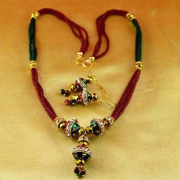 Moti,cz,pearl,stone necklace with earing