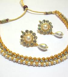 Buy Pearl Drop Flower Golden Polki Necklace Set necklace-set online