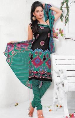 Crepe dress material elegant designer unstitched salwar suit d.no 7330