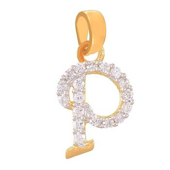 Mahi Perfect P Initial Pendant with CZ